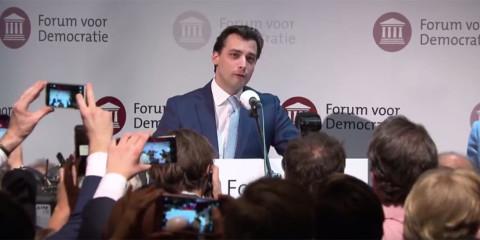 Thierry Baudet lors de la soirée à l'issue des élections provinciales.