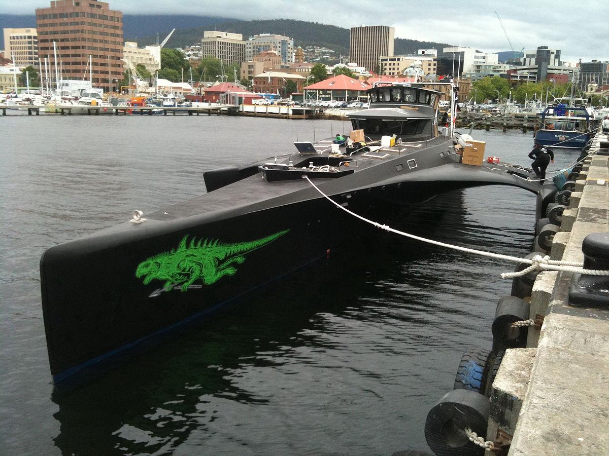 Le Gojira, ancien nom du Brigitte Bardot, trimaran de l'ONG Sea Shepherd.