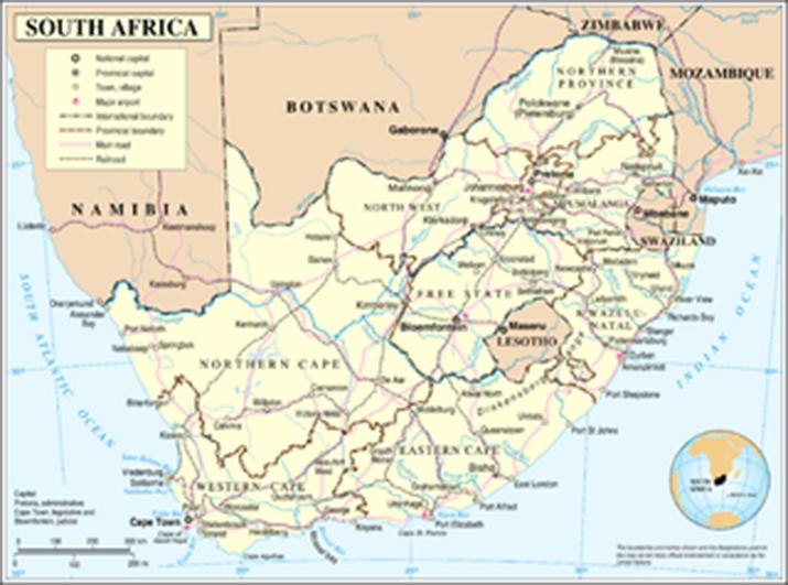 Carte de l'Afrique du sud.