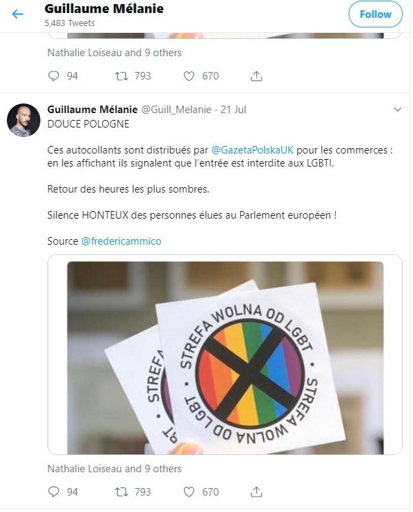 Capture d'écran d'un post Twitter de l'activiste LGBT Guillaume Mélanie, en date du 21 juillet 2019.