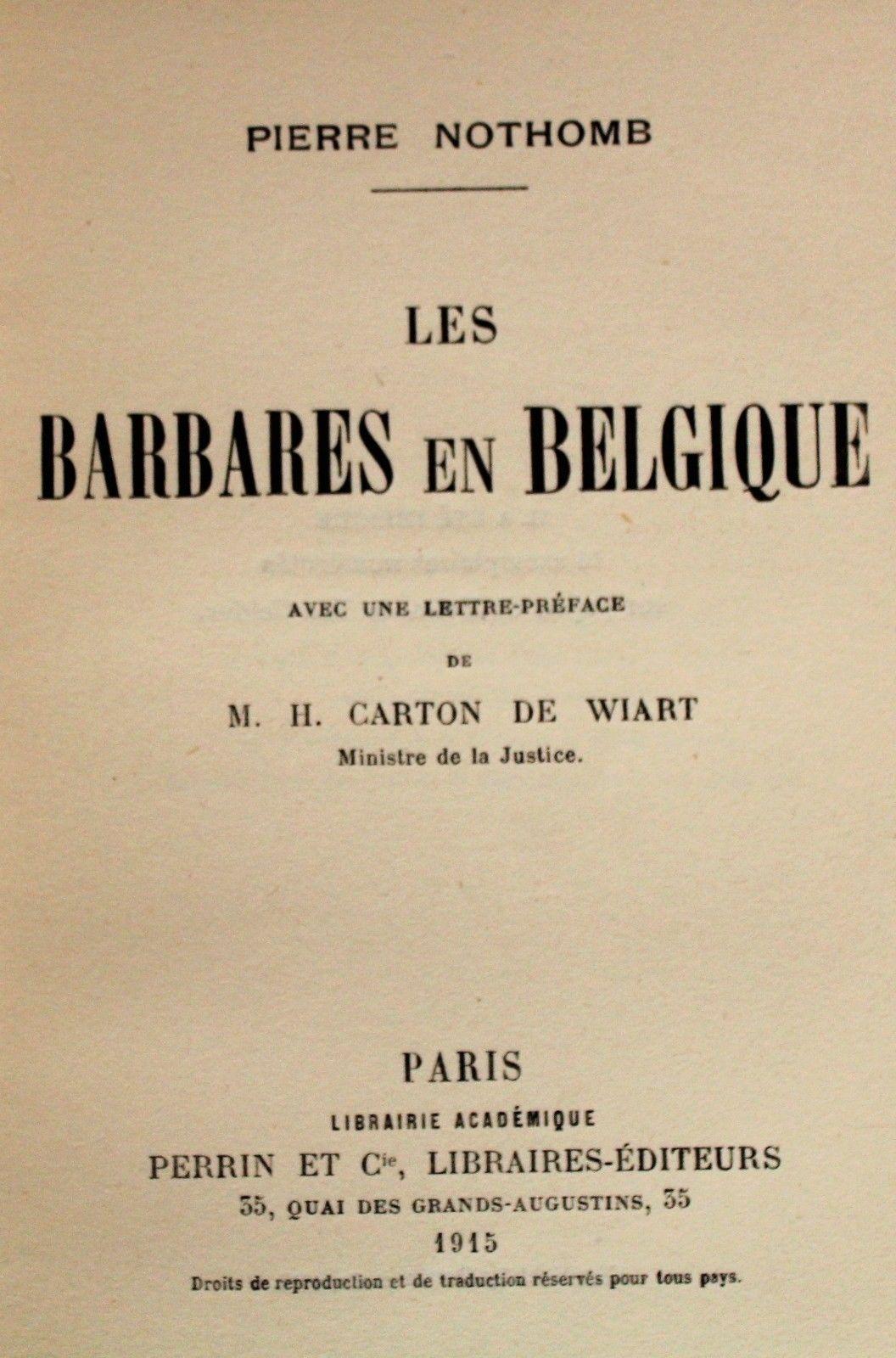 Pierre Nothomb:Les Barbares en Belgique.