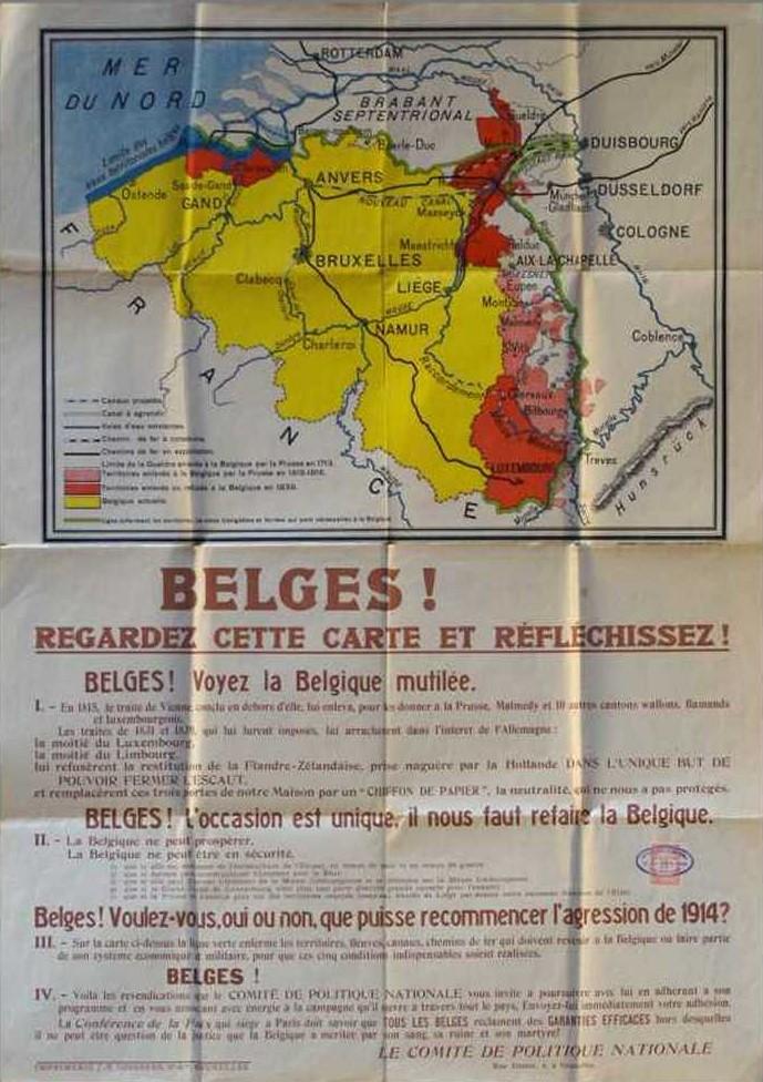 Les nationalistes belges réclament au sortir de la Ire Guerre mondiale la réalisation d'une Grande Belgique (la ligne verte marque les limites de leurs prétentions territoriales).
