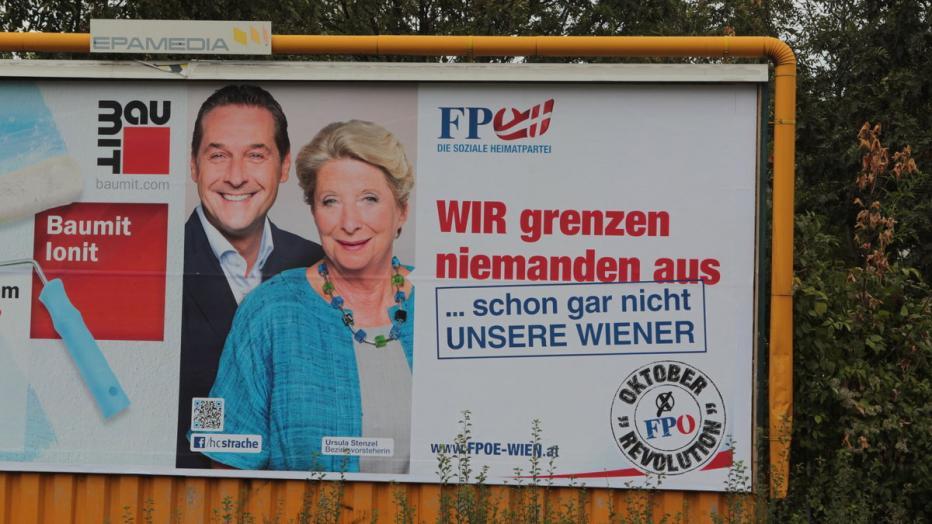 Affiche du FPÖ à VIenne lors des élections de 2015. HC Strache et Ursula Stenzel.