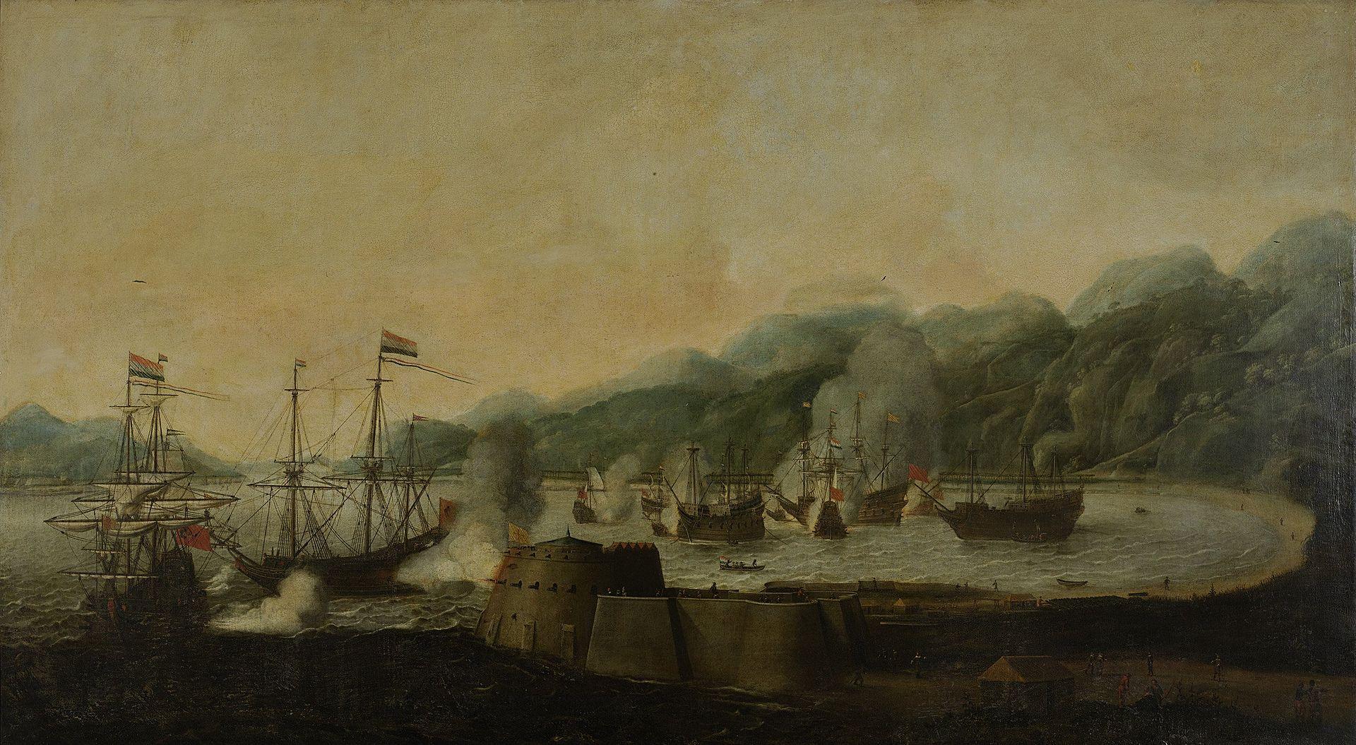 Hendrick van Anthonissen : attaque surprise hollandaise contre trois galions portugais dans la baie de Goa en 1639. Tableau de 1653.Hendrick van Anthonissen : attaque surprise hollandaise contre trois galions portugais dans la baie de Goa en 1639 (Tableau de 1653).