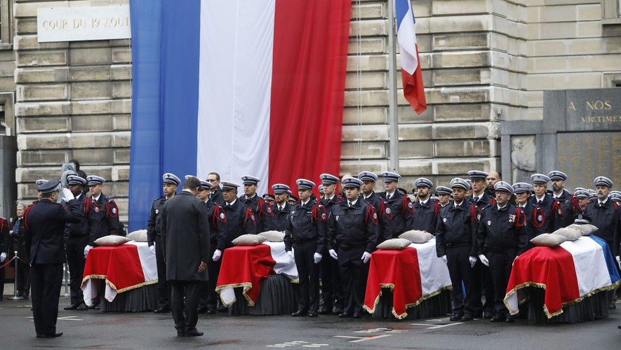 Les funérailles des victimes de l'attentat à la préfecture de Paris.