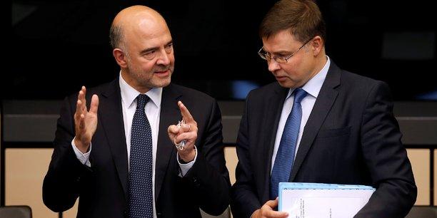Pierre Moscovici et Valdis Dombrovskis.