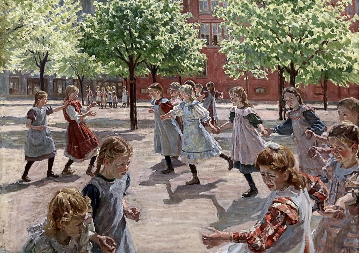 Peter Hansen (1868-1928) Copenhague : Jeux d'enfants, 1908.