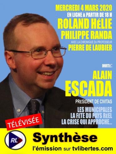 Alain Escada, emission Synthese