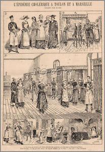 Gravure d'une épidémie de choléra à Toulon en 1884;