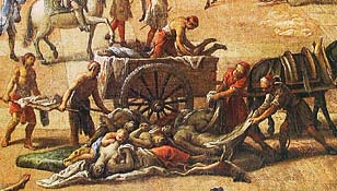 La peste à Marseille - toile de Michel Serre, détail (Musée des beaux arts de Marseille).