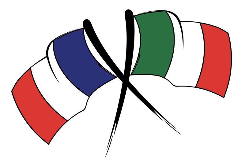 drapeaux francais et italien